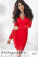 Облегающее гипюровое платье Дежавю красное, фото 1