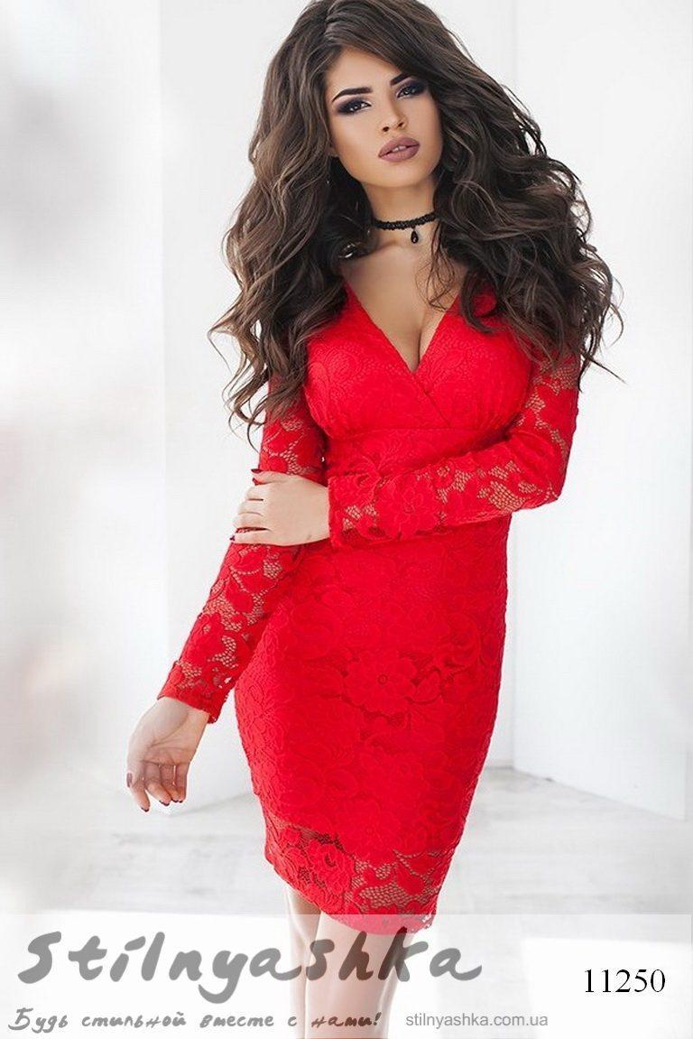 68cfac8feb6e8ef Облегающее гипюровое платье Дежавю красное - Интернет-магазин