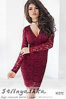 Облегающее гипюровое платье Дежавю бордо, фото 1