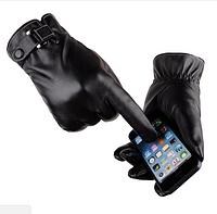 Стильные перчатки мужские для сенсорных экранов код 16 черные