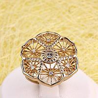 002-2775 - Перстень позолоченный прозрачные фианиты, 17.5, 18 р