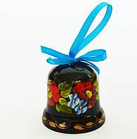 Украинский сувенир Колокольчик деревянный Петриковская роспись Букет з бузком