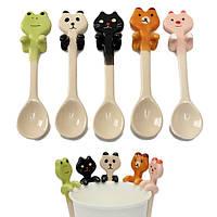 Милый мультфильм животных керамические повешение кофе совок чай с молоком суповая ложка посуда декор