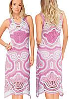 Платье бело-розовое в технике брюггского кружева