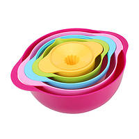 5pcs многофункциональные радуги цвета чаши дуршлаг набор фильтров соковыжималка стиральная инструмент кухонные принадлежности