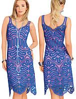 Платье синее в технике брюггского кружева