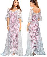 Платье белое длинное в технике брюггского кружева