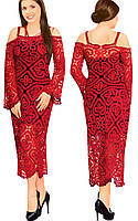 Платье красное в технике брюггского кружева