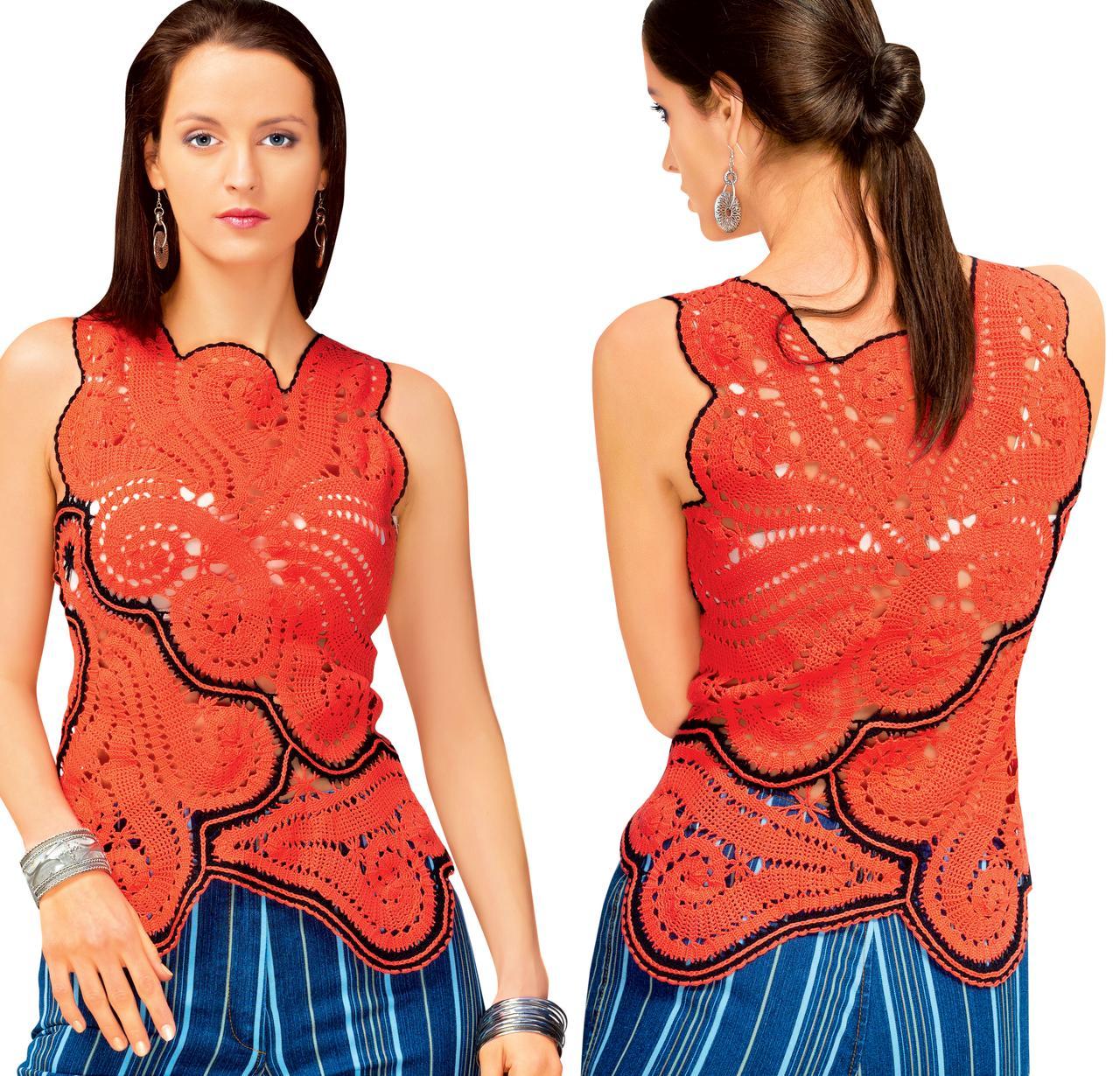 Блуза красная с черной отделкой  в технике брюггского кружева