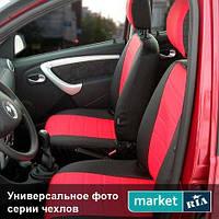 Чехлы для Fiat Linea, Черный + Красный цвет, Экокожа