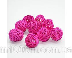 Шары из ротанга темно-розовые 4 шт. D-15 см. 8899