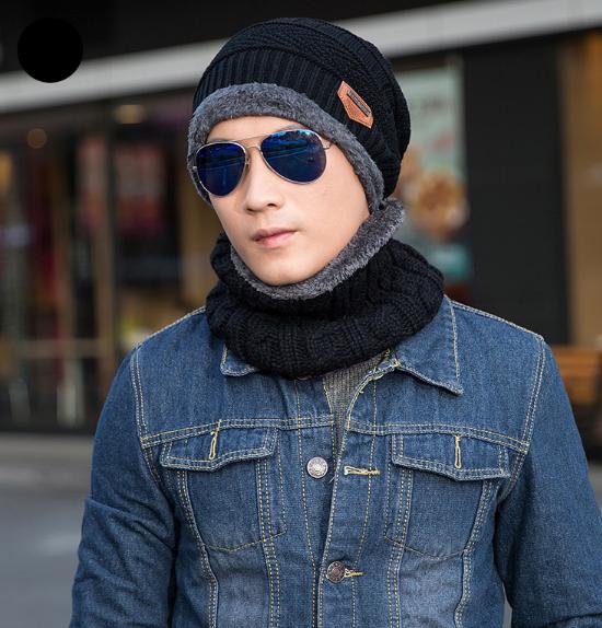 Стильная мужская зимняя вязаная шапка + шарф красная ...