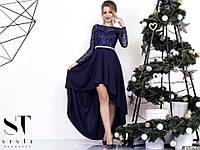 """Нежное праздничное платье """"Clarissa"""" с кружевным верхом и ассиметричной юбкой (6 цветов)"""