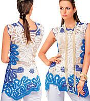 Блуза сине-белая в технике брюггского кружева