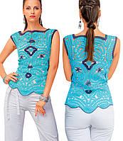 Блуза сине-голубая в технике брюггского кружева