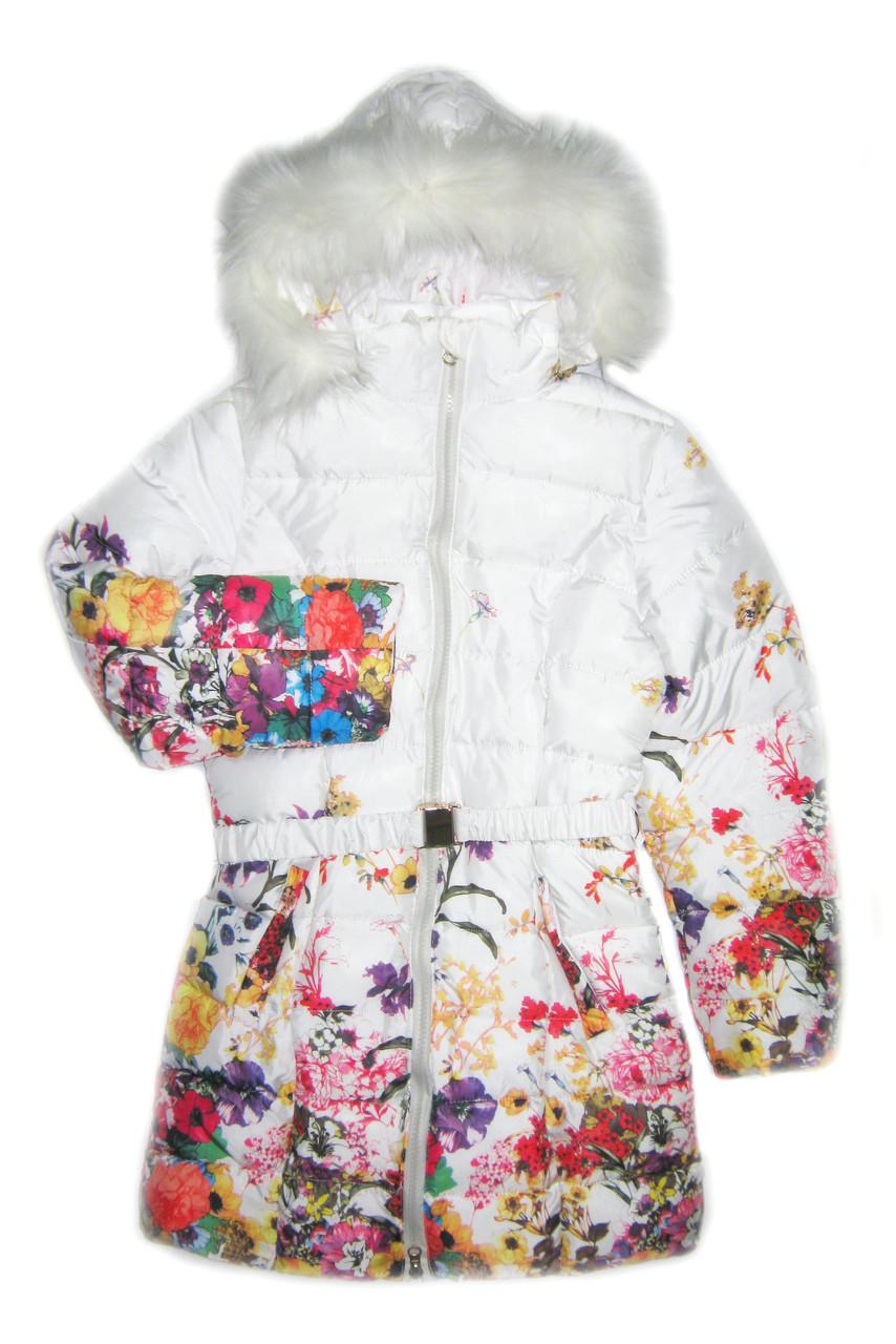 Детское зимнее пальто на девочку, Белый цветок