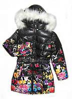 Детское теплое зимнее пальто для девочки, Черный цветок