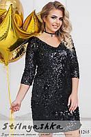 Шикарное платье для полных Блестки черное, фото 1