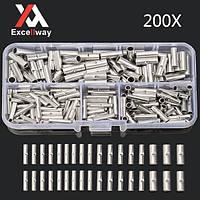 Excellway® TC20 200Pcs Медный Butt Kit Splice Соединитель 22-10AWG луженая обжимной терминал