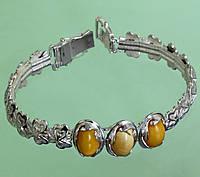 Срібний браслет з бурштином