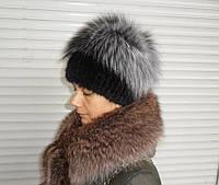 Женская шапка из норки и чернобурки на трикотажной основе