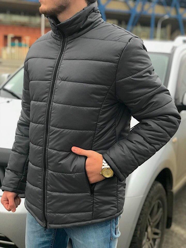 Зимняя Куртка без капюшона (слимтекс), мужская серая
