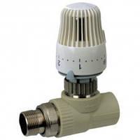 Кран термостатический с термоголовкой прямой 25-3/4 PPR Koer