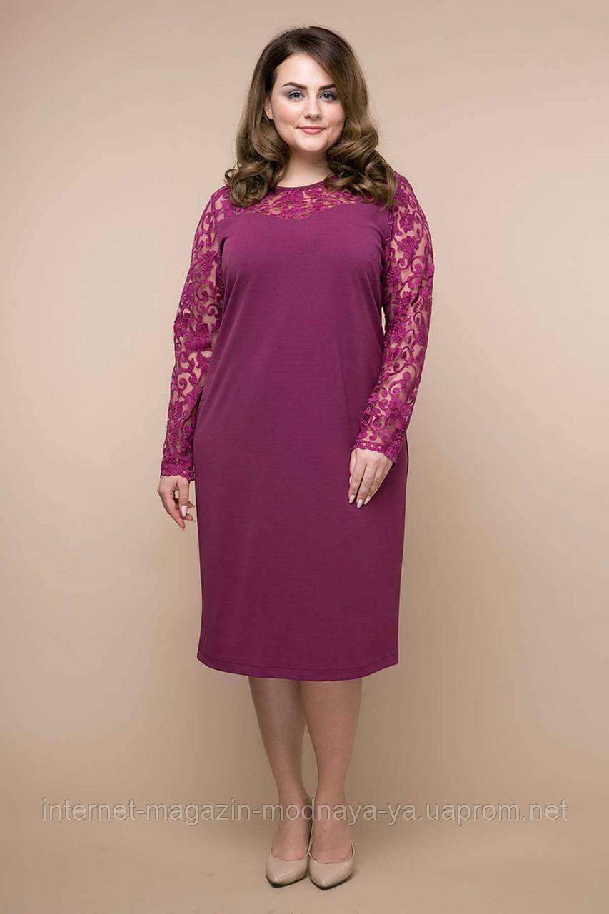 Платье с гипюром Эмилия р. 54-58 сиреневый