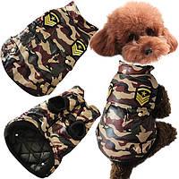 Зима куртку собаки любимчика кота камуфляж куртка пальто собаки теплая хлопка одежды собаки камуфляже
