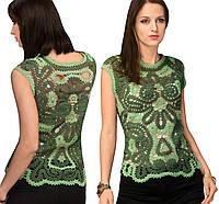 Блуза зеленая в технике брюггского кружева