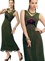 Платье зеленое в технике брюггского кружева