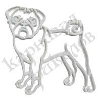 Украшение Собака Мопс пластик 12х9см (белый)