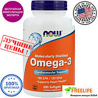 Now Foods, Omega-3, 180ЕРА,  200 капсул