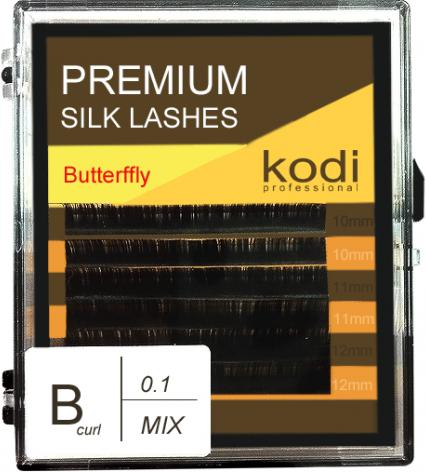 Ресницы для наращивания Kodi Professional Butterfly, B-0.1 (6 рядов: 10-12 мм.) темно-коричневый