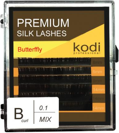 Ресницы для наращивания Kodi Professional Butterfly, B-0.1 (6 рядов: 8/14 мм.) темно-коричневый, фото 2