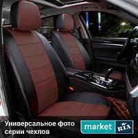Чехлы для Ford Fiesta, Черный + Коричневый цвет, Экокожа