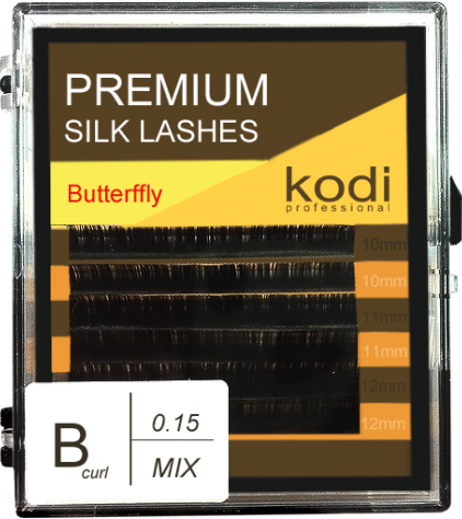 Ресницы для наращивания Kodi Professional Butterfly, B-0.15 (6 рядов: 10-12 мм.) темно-коричневый