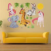 Мультфильм животных слон жирафы трава спальня съемная стикер стены декора дома