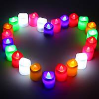 24 штук многоцветной LED беспламенной романтический чай свет свеча лампа свадьба декор
