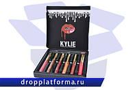 Набор матовых жидких помад Kylie (6 штук) + карандаш