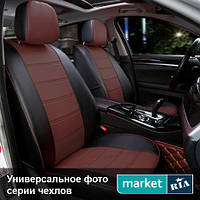 Чехлы для Ford Transit, Черный + Коричневый цвет, Экокожа