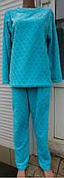 Женская пижама из пушистой двусторонней махры с узором, женские теплые пижамы оптом от производителя