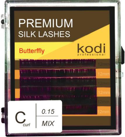 Ресницы для наращивания Kodi Professional Butterfly, C-0.15 (6 рядов: 12 мм.) фиолетовые