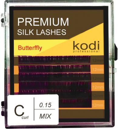 Ресницы для наращивания Kodi Professional Butterfly, C-0.15 (6 рядов: 12 мм.) фиолетовые, фото 2