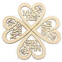 10pcs деревянная лазерная резка сердце формы ремесла украшения украшения свадебной