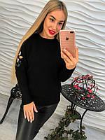 Свитер женский черный мелкая машинная вязка с вышивкой