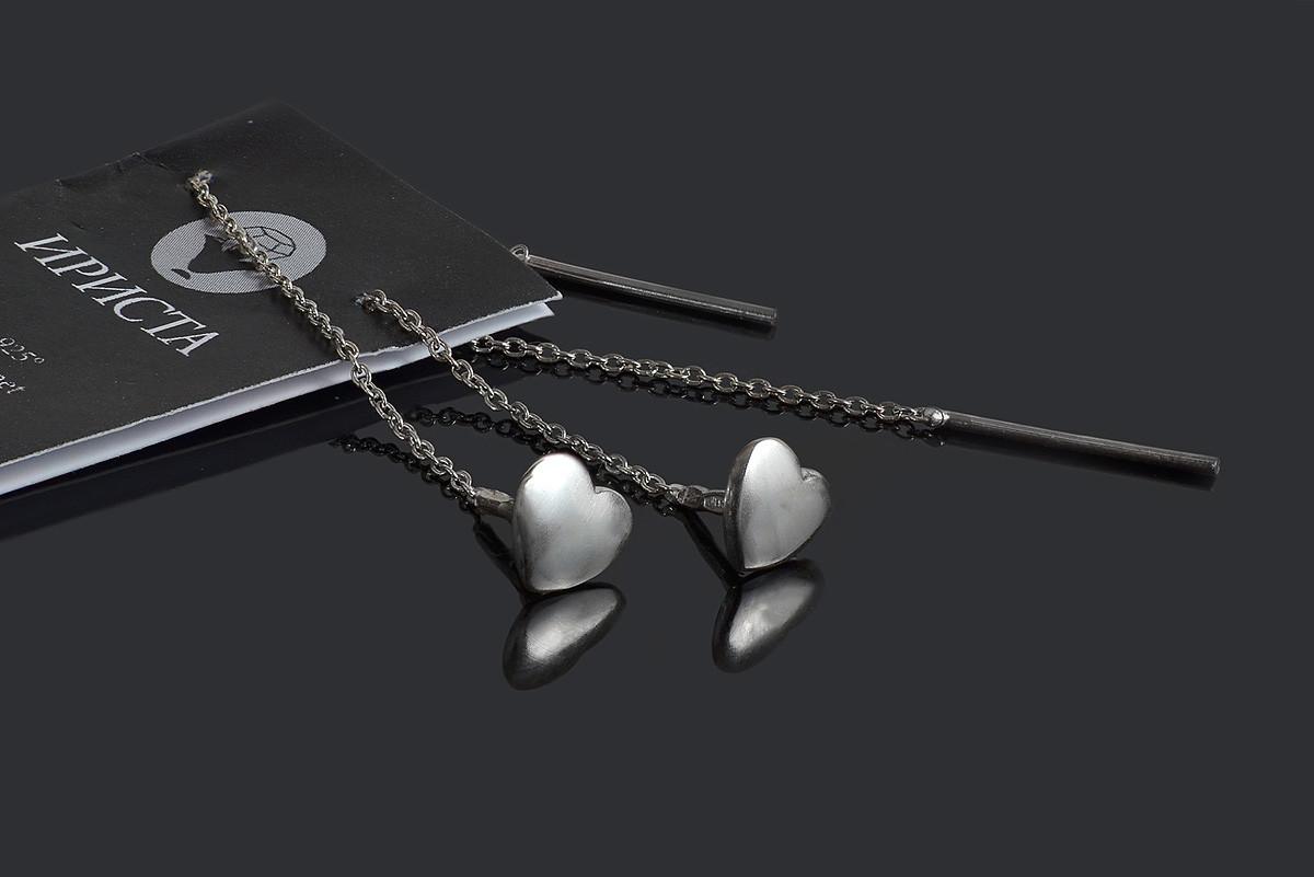 Серебряные серьги цепочки Сердечки