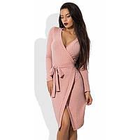 Пудровое платье на запах из трикотажа с люрексом, фото 1