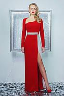 Нарядное женское платье в пол, красное, креп-дайвинг, размер 44-48