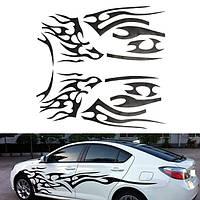 2 штук черный винил графический шаблон автомобиля стикера пламени украшение корпуса автомобиля универсальный